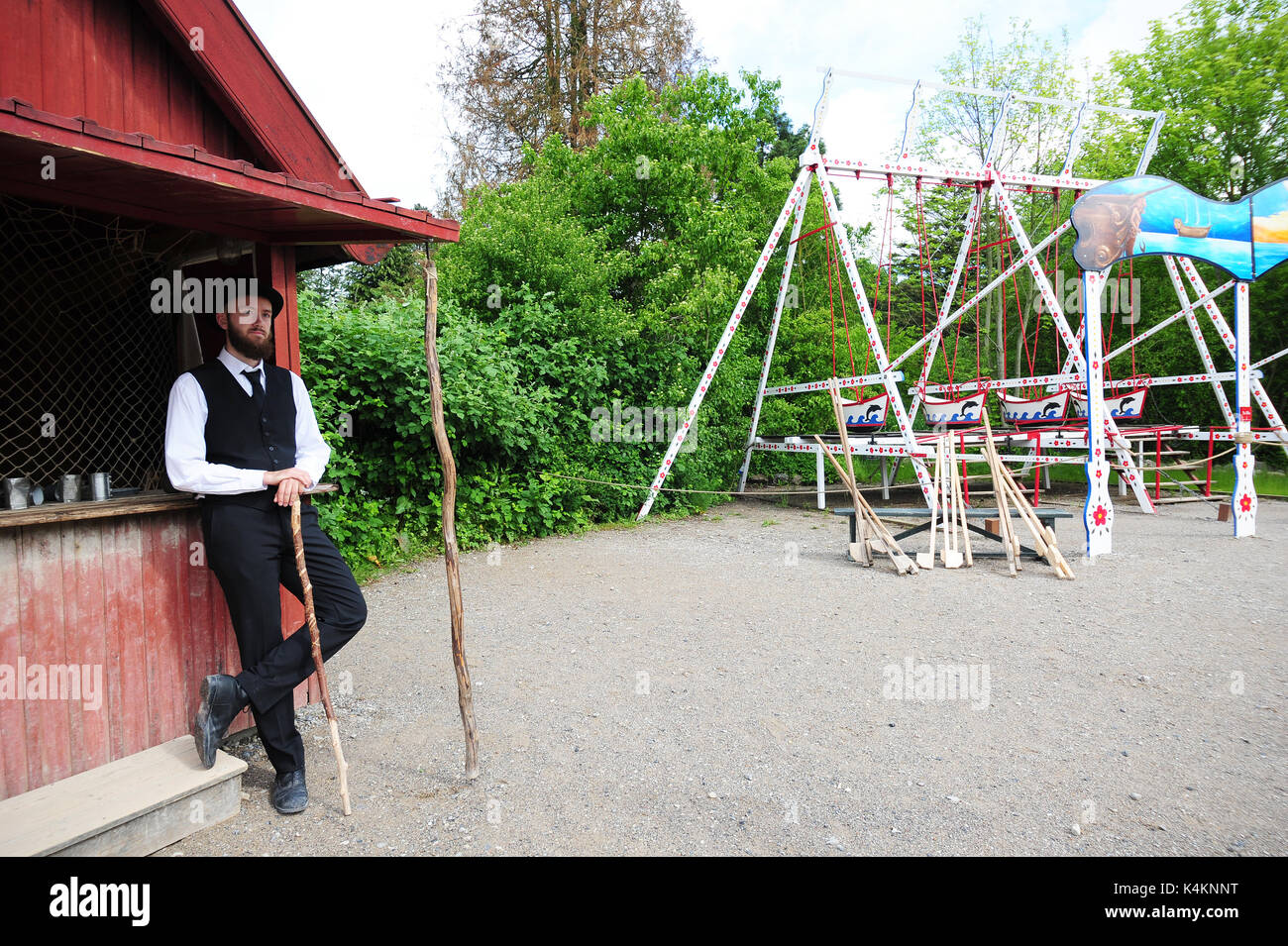 Travel back in time at Den Gamle By (The Old Town), an open-air folk museum known in Aarhus, Denmark. Stock Photo