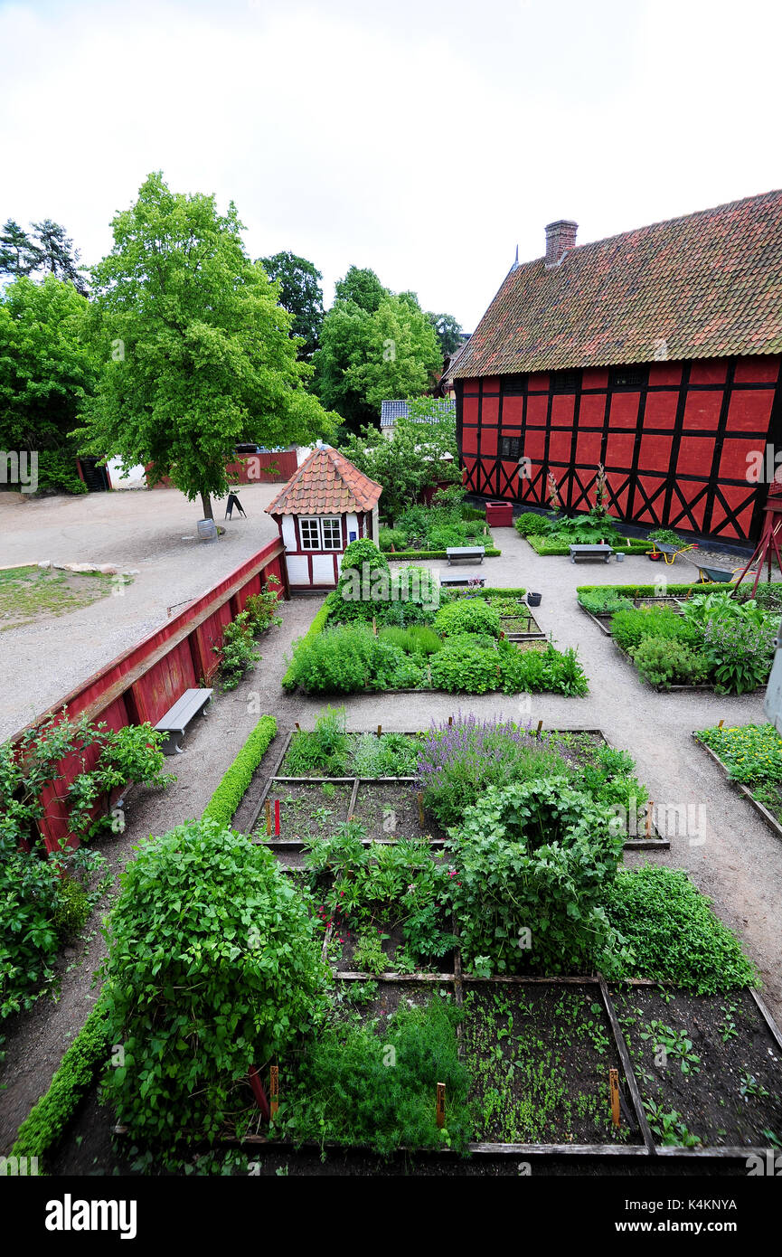 Travel back in time at Den Gamle By (The Old Town), an open-air folk museum known in Aarhus, Denmark. - Stock Image