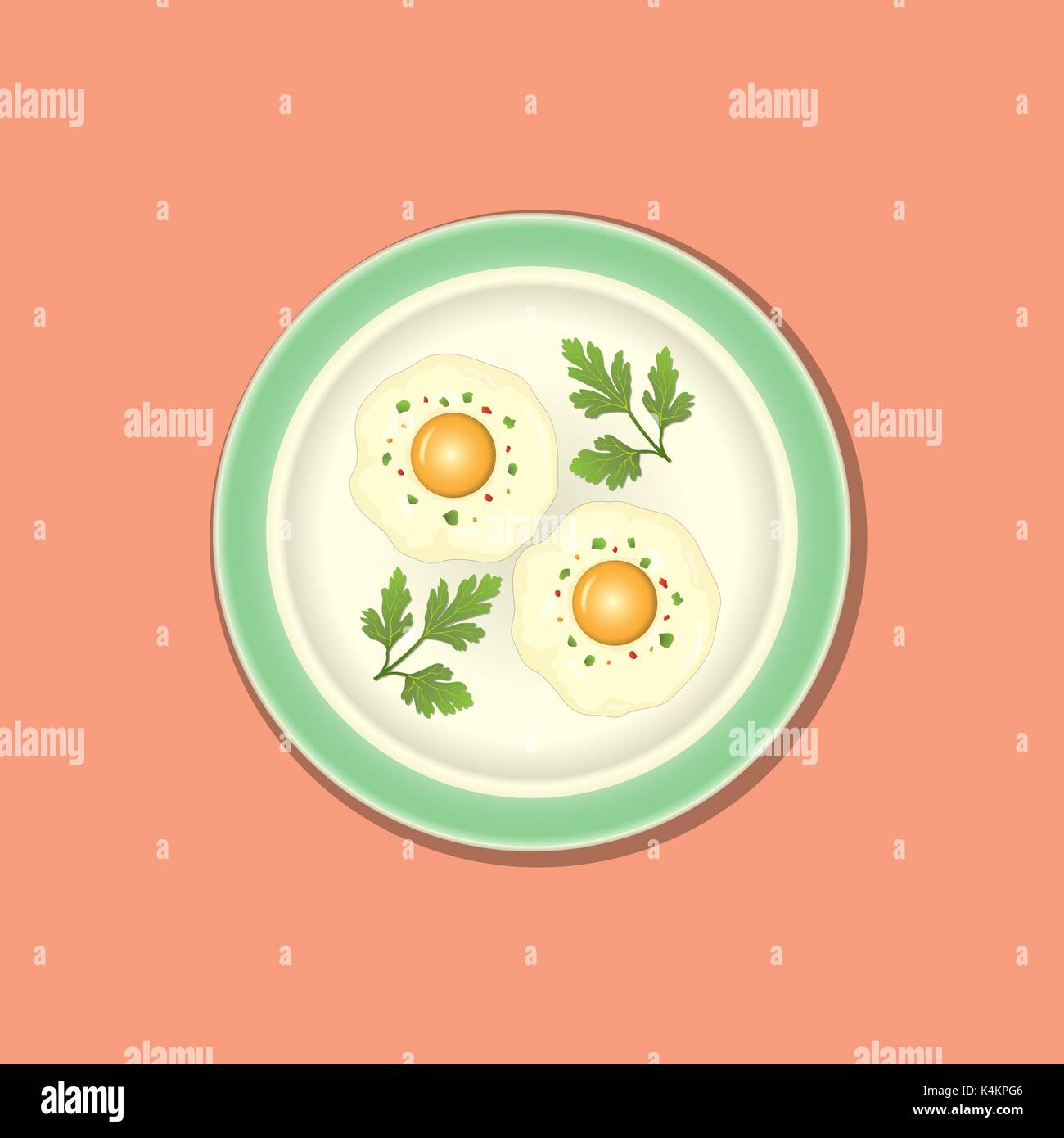 Fried egg with parsley on the plate, background without pattern - Stock Vector