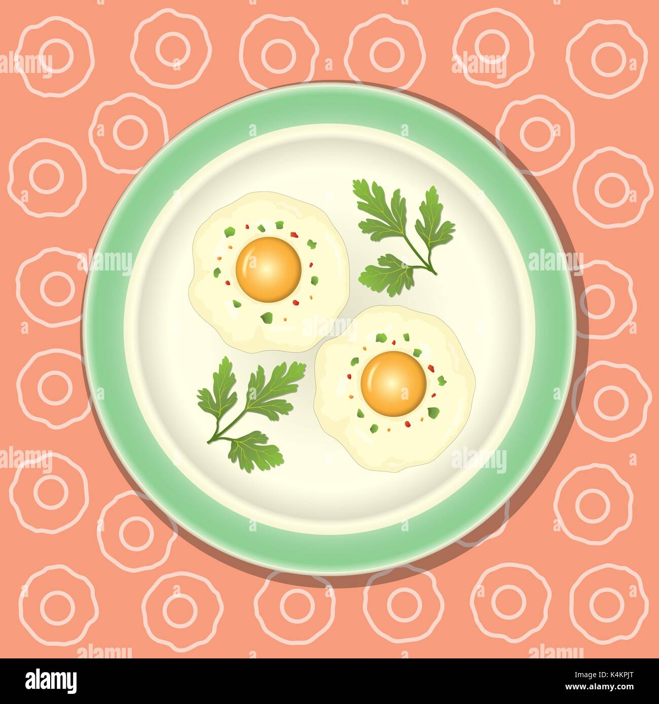 Fried egg with parsley on the plate, background with pattern - Stock Vector