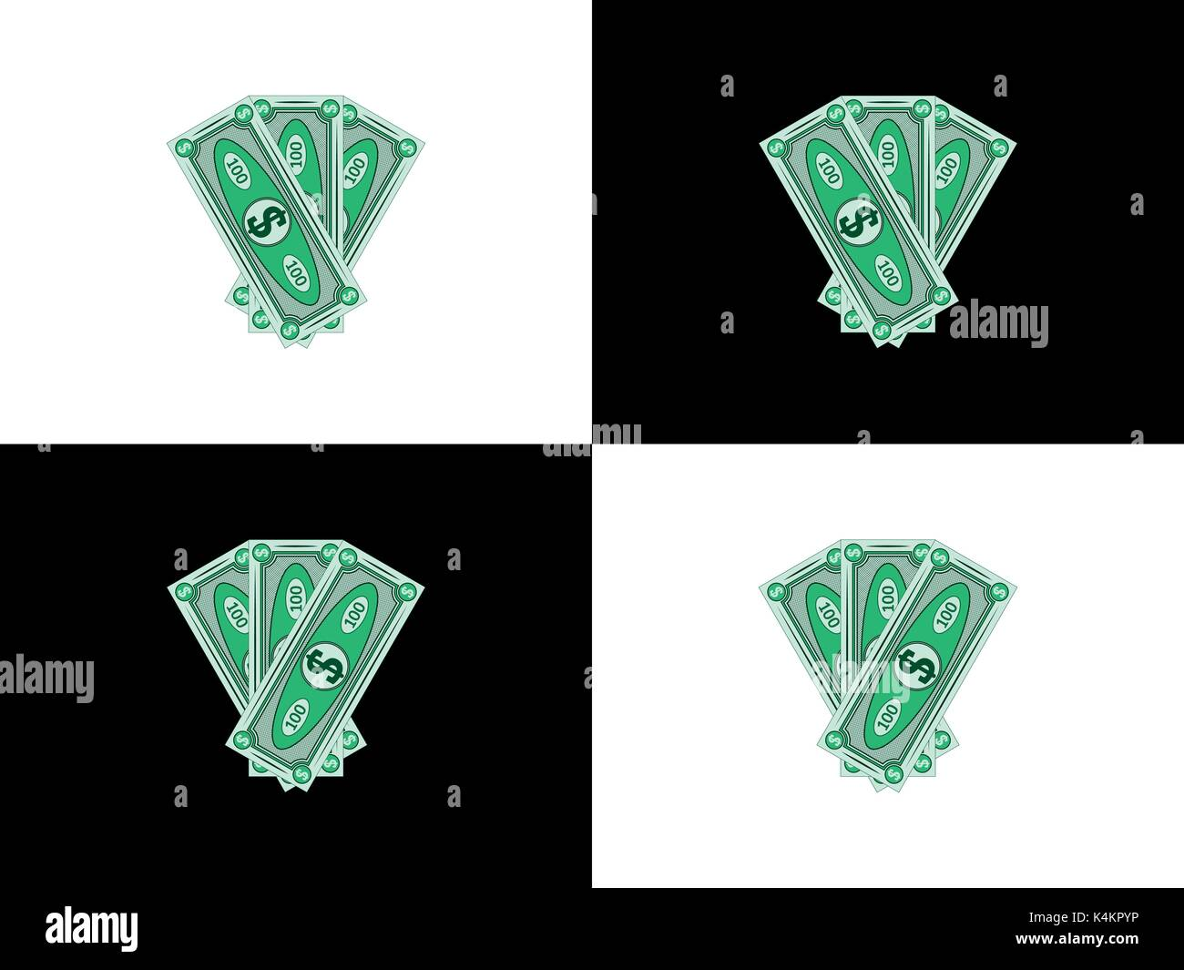 Three hundred dollars with the main view to the left and to the right, second version of abstract banknotes, vector money - Stock Vector