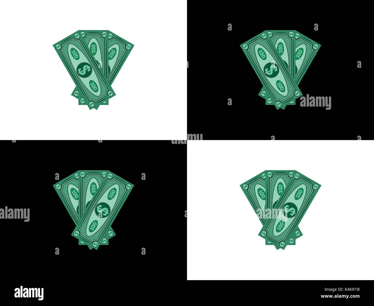 Three hundred dollars with the main view to the left and to the right, first version of abstract banknotes, vector money - Stock Vector
