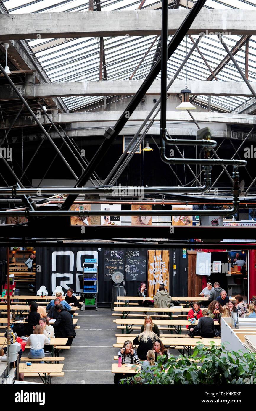 Aarhus Street Food, a permanent street food market in Aarhus,Denmark. - Stock Image
