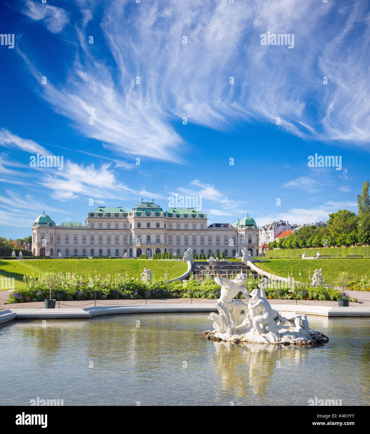 VIENNA, AUSTRIA - JULY 30, 2014: The fountain of Belvedere palace in morning. Stock Photo