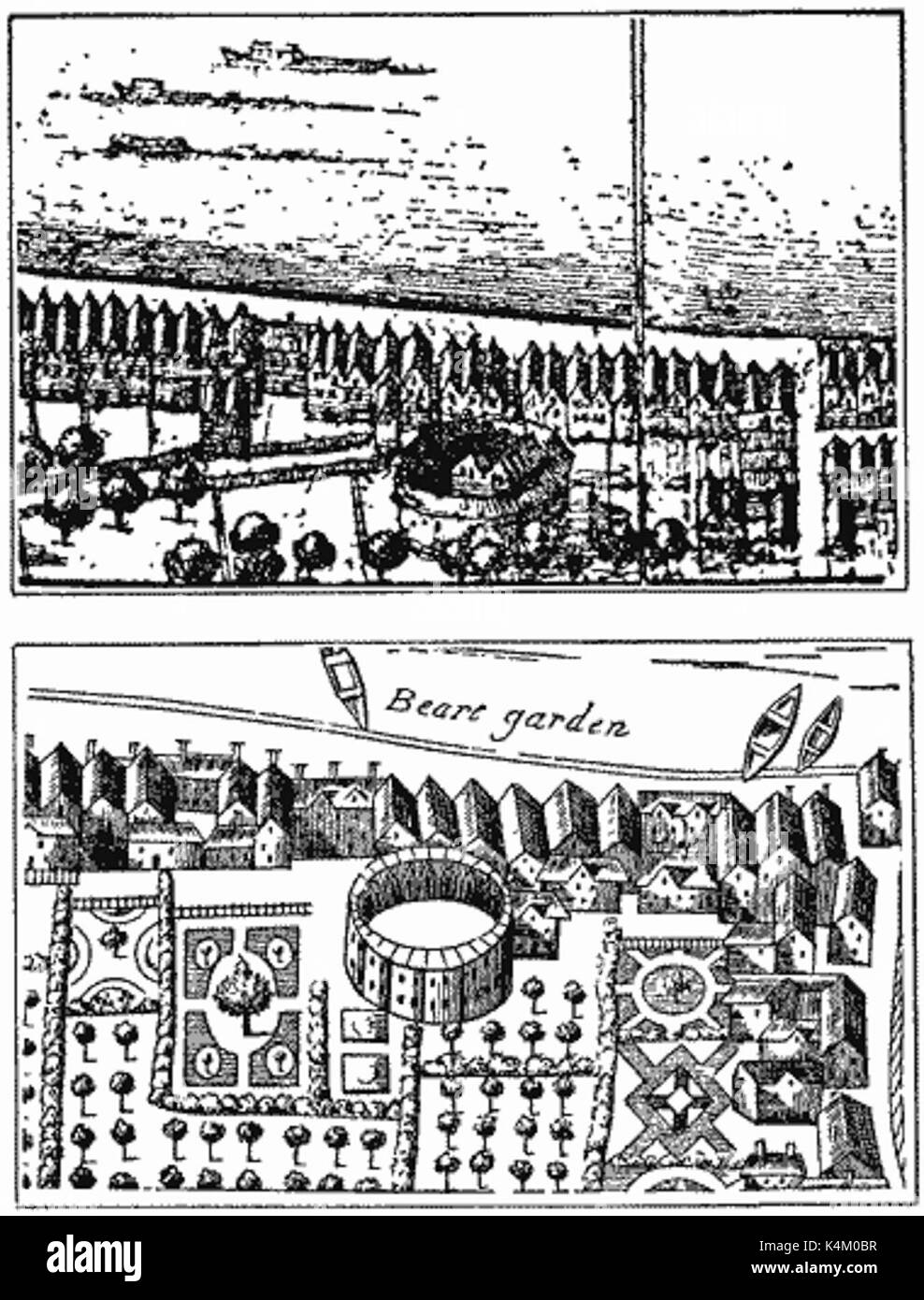 Hope playhouse depicted on Hollar's Post-conflagration map in the Crace Collection of the British Museum; the lower view is from Faithorne's Map of London (1658) - Stock Image