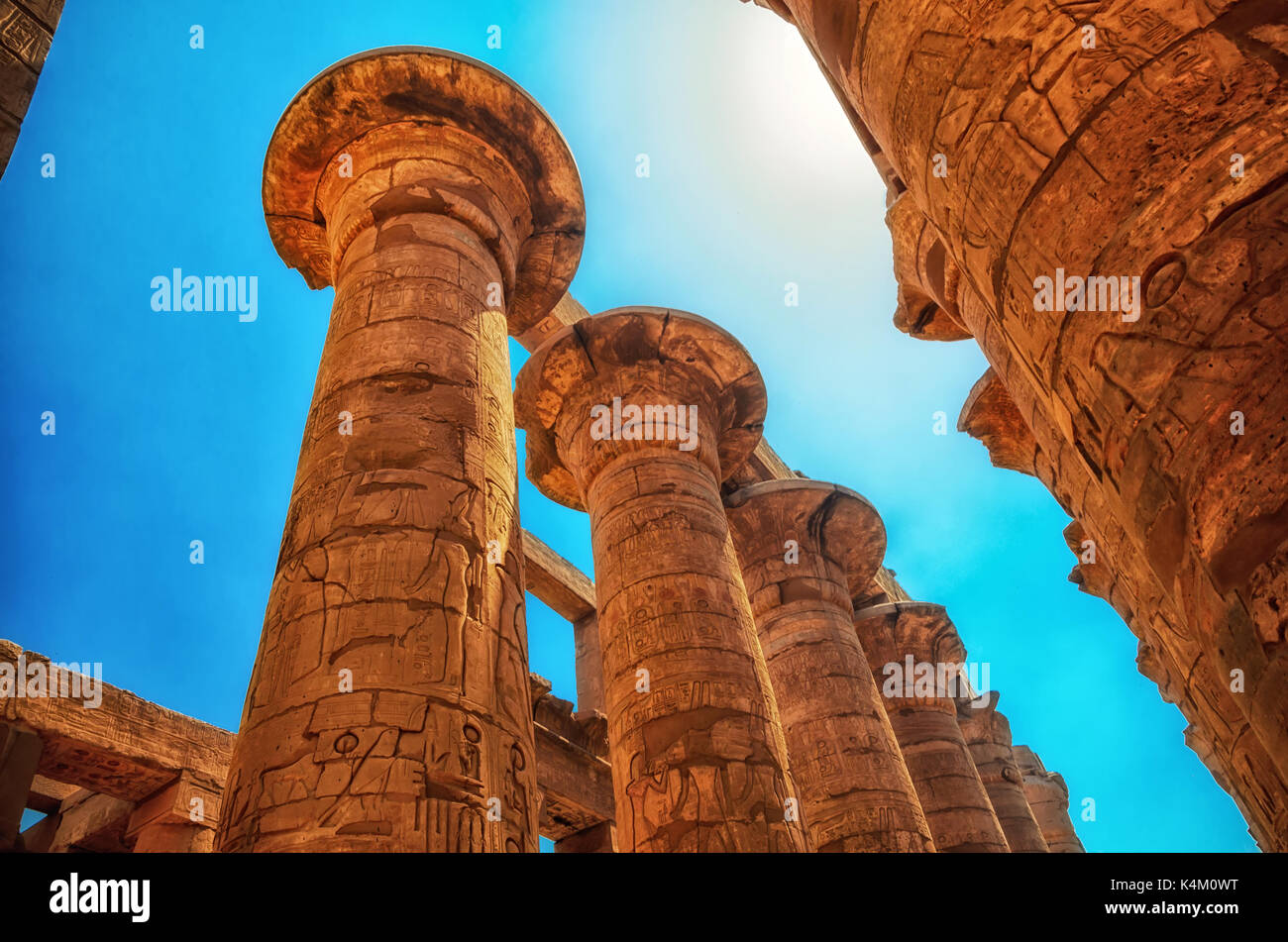 Great Hypostyle Hall at the Temples of Karnak (ancient Thebes). Luxor, Egypt - Stock Image