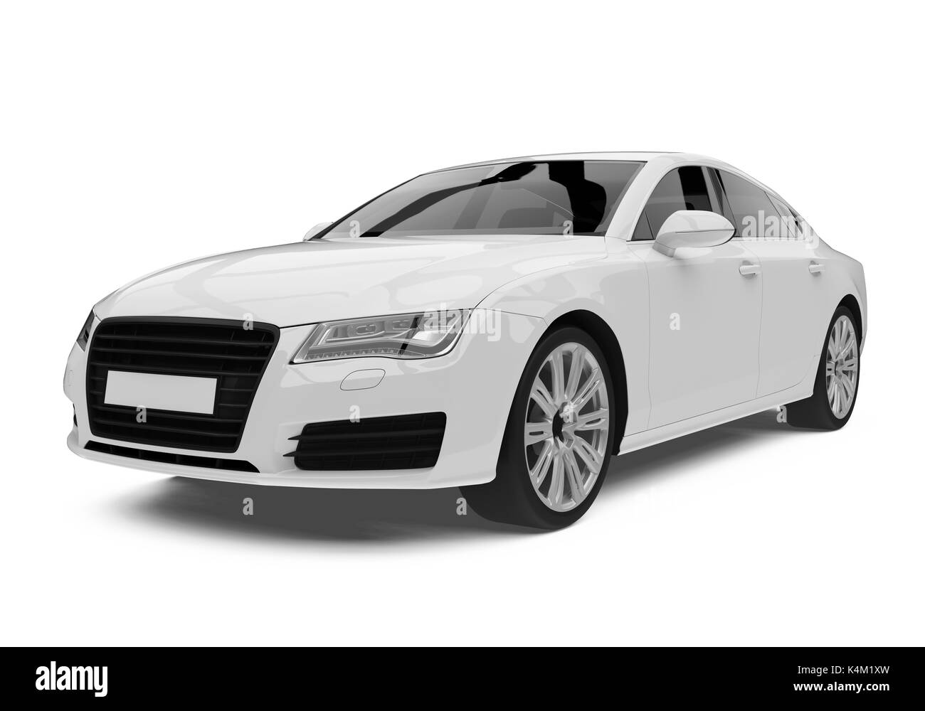 White Sedan Car Isolated - Stock Image