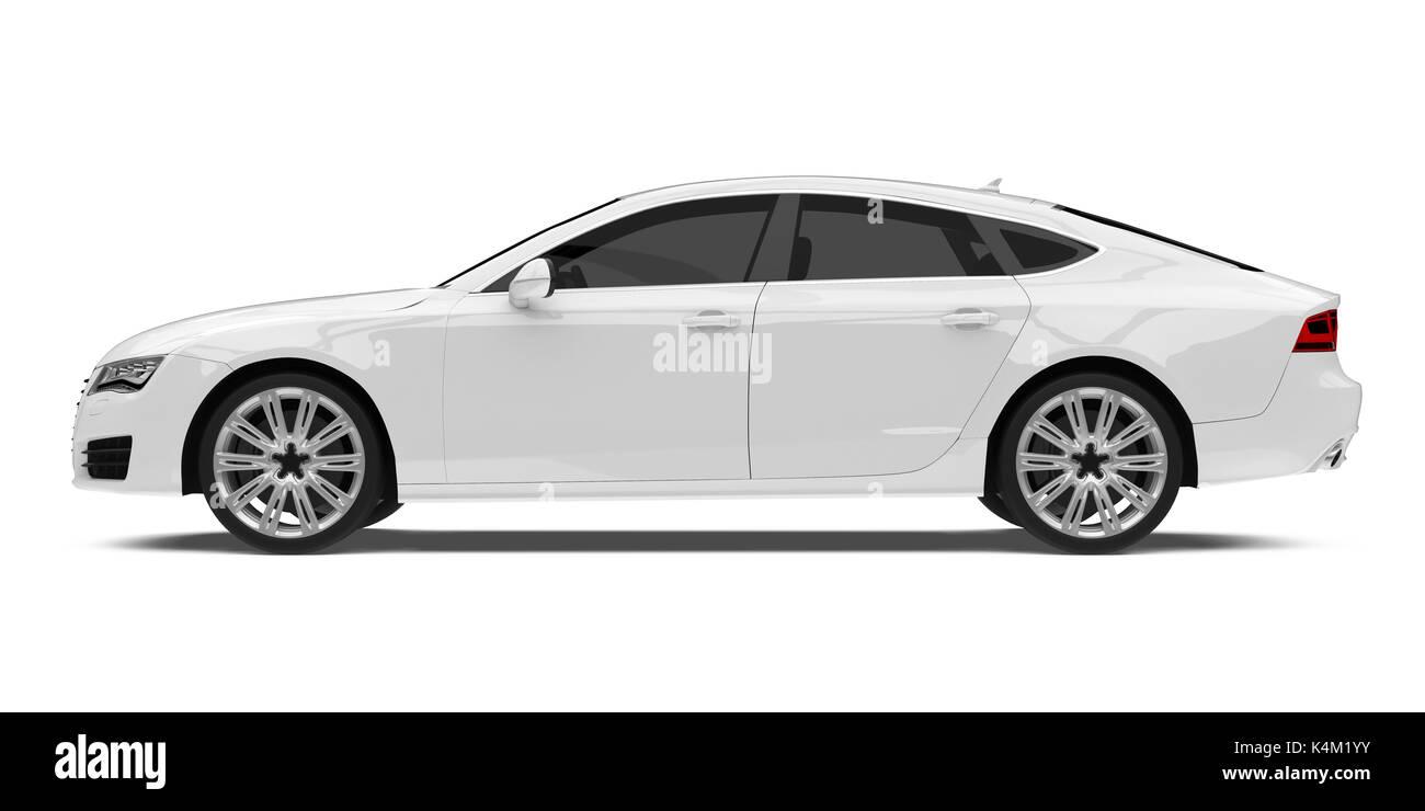 White Sedan Car Isolated - Stock Image