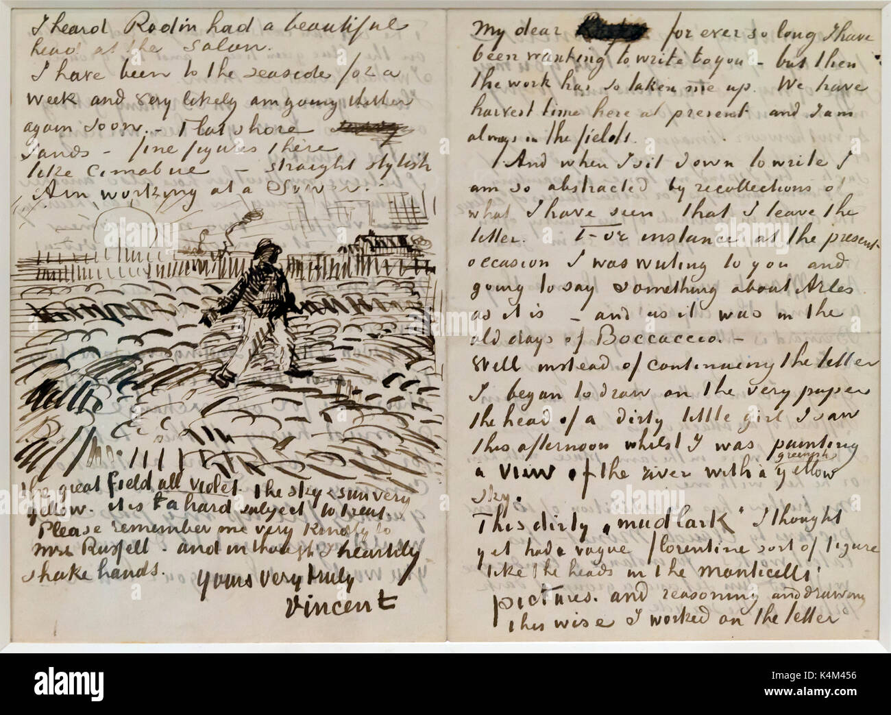 Letter to John Peter Russell, by Vincent van Gogh, 1888, Solomon R. Guggenheim Museum, Manhattan, New York City, USA, North America - Stock Image