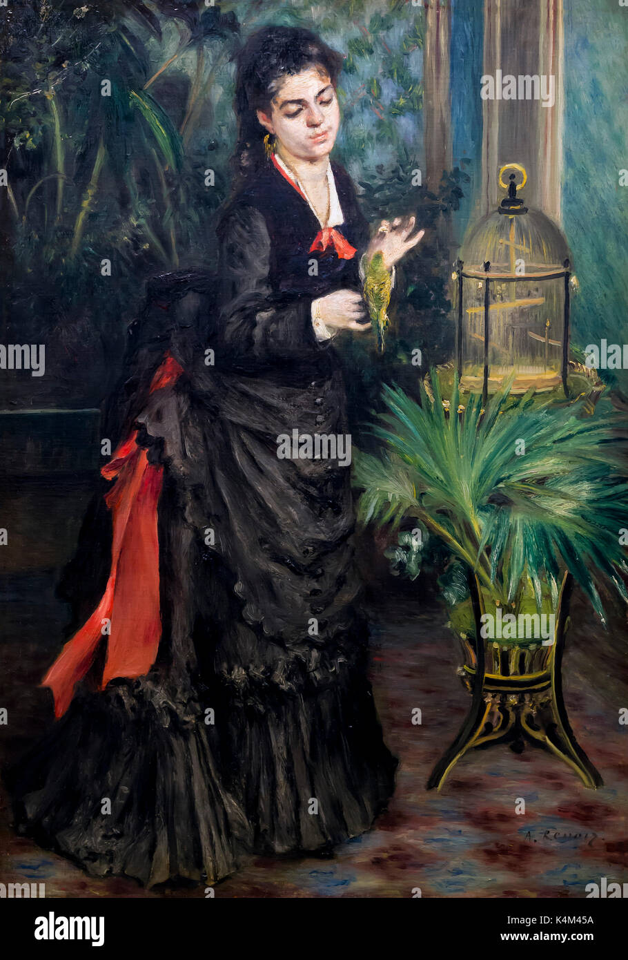 Woman with Parakeet, by Pierre-Auguste Renoir, 1871, Solomon R. Guggenheim Museum, Manhattan, New York City, USA, North America - Stock Image