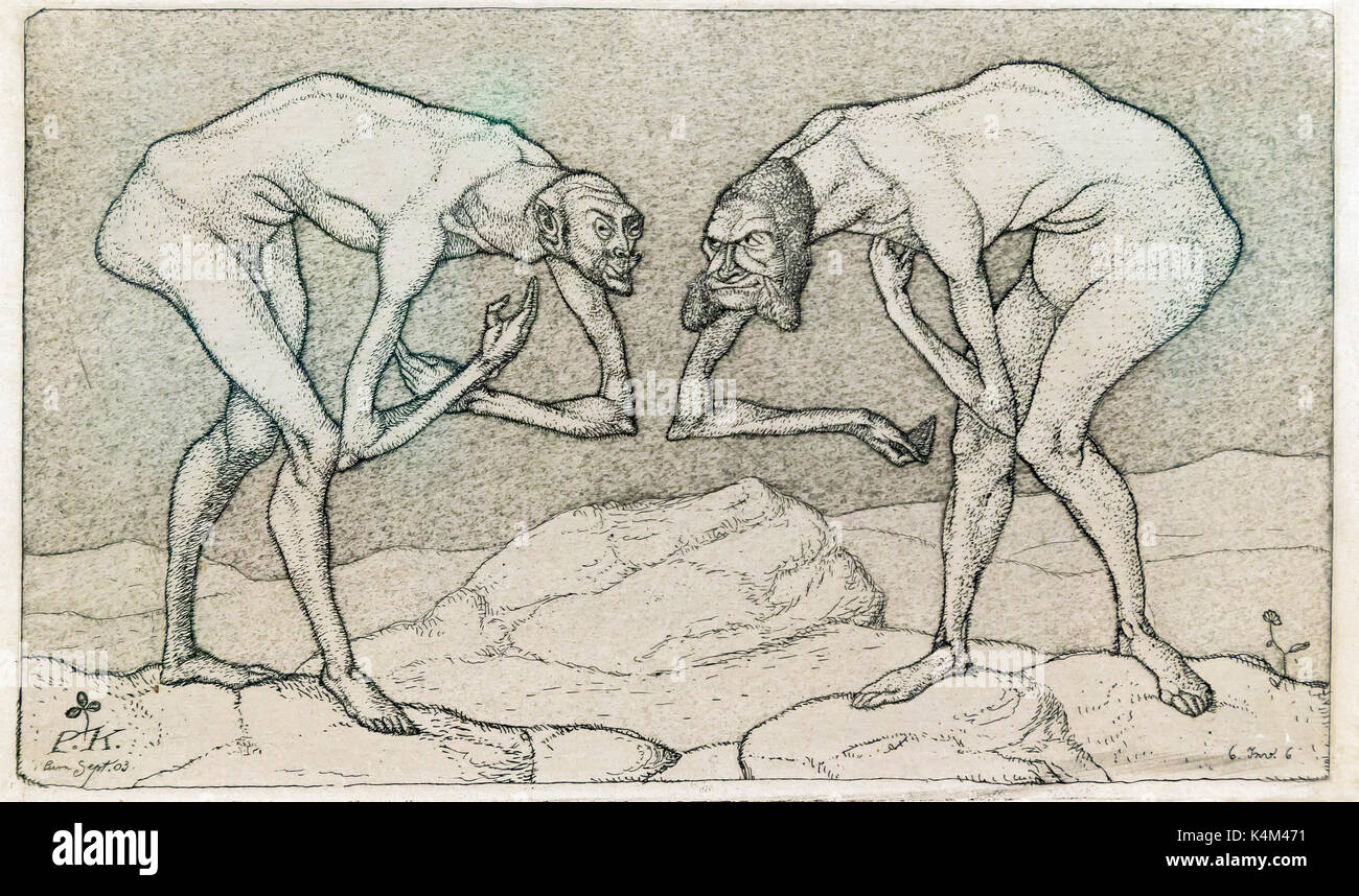 Two Gentlemen Bowing to One Another, Each Supposing the Other to Be in a Higher Position, by Paul Klee, 1903, Solomon R. Guggenheim Museum, Manhattan, - Stock Image