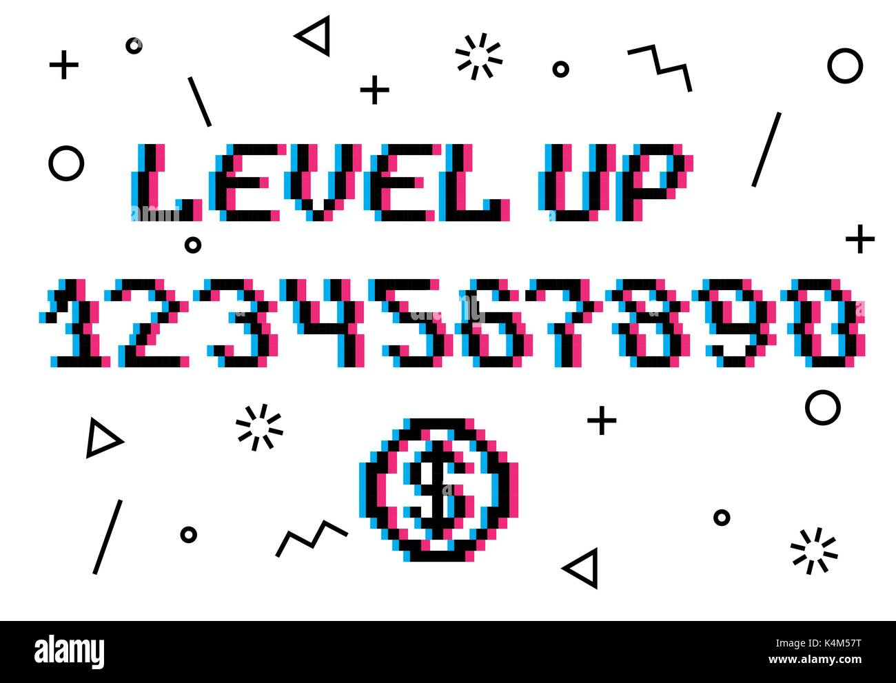 Level up pixel vector - Stock Vector