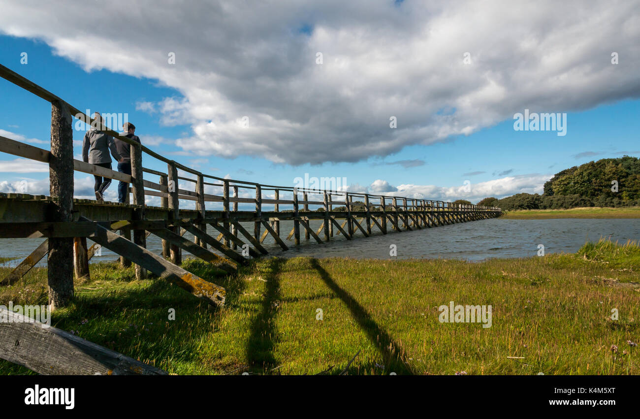 Young couple walking over wooden footbridge over mudflats at high tide, Aberlady Bay local nature reserve, East Stock Photo