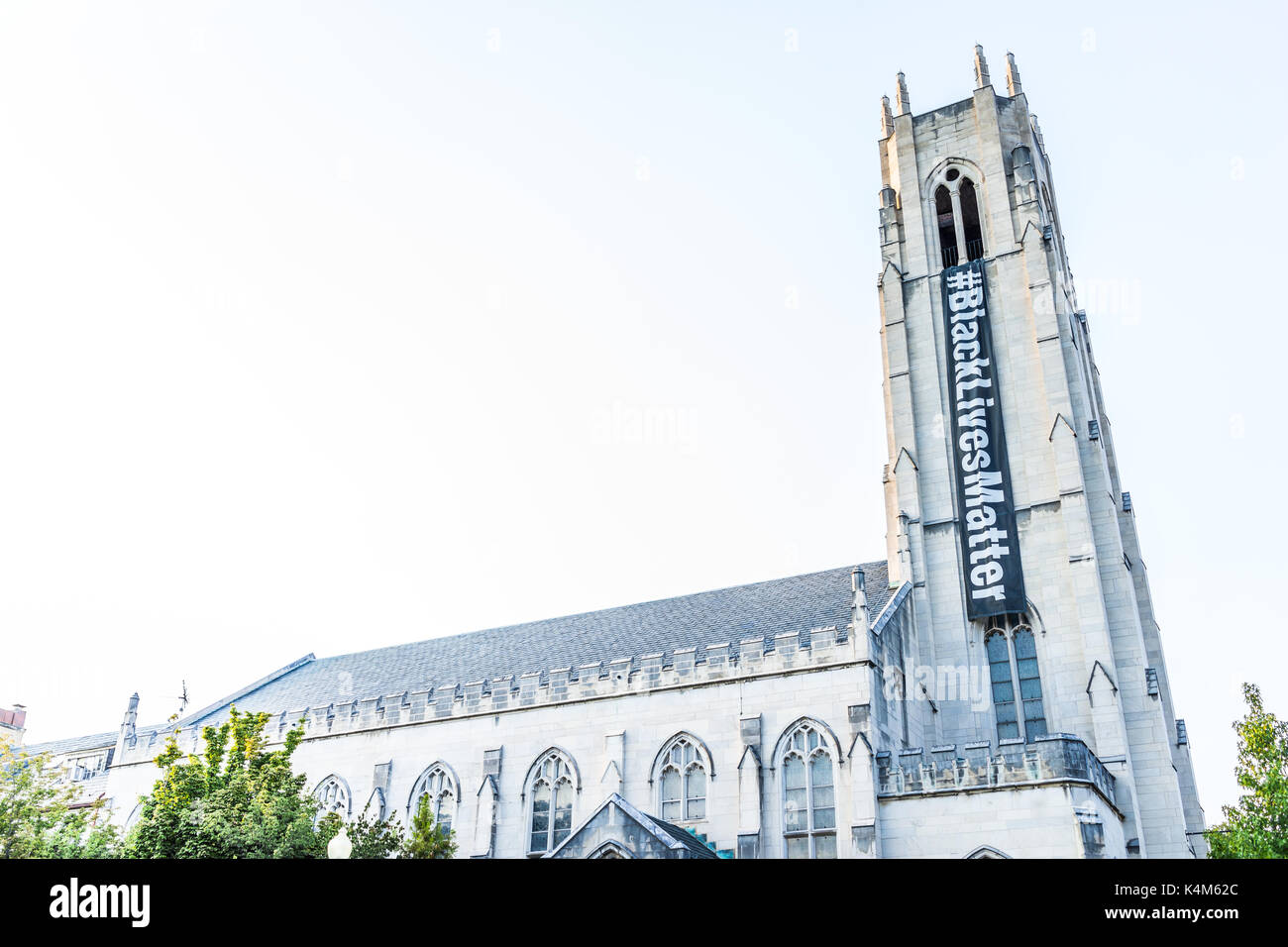 Washington DC, USA - August 4, 2017: Church of the Pilgrims building exterior with sign for Black Lives Matter - Stock Image