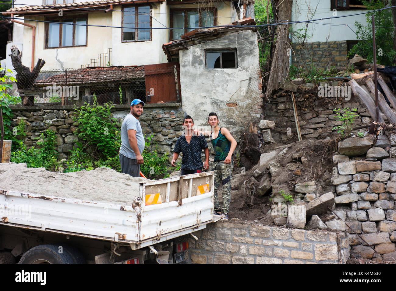 Men working on a building site in Veliko Tarnovo. Stock Photo