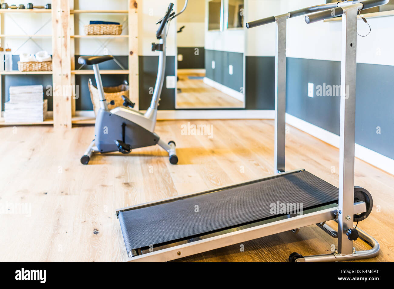 Home gym with treadmill mirror and bicycle machine with sunlight
