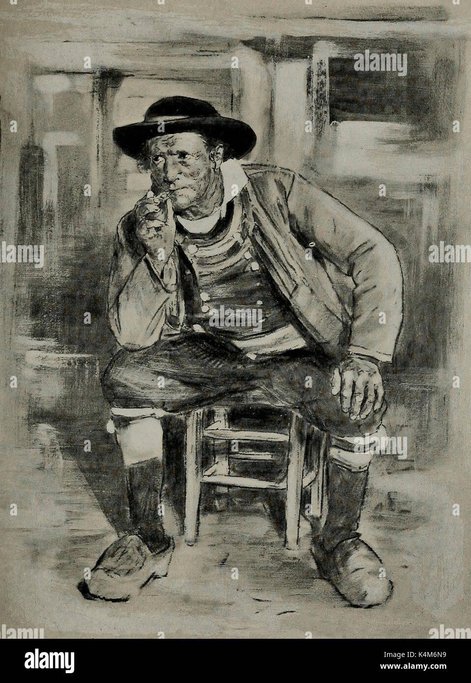 A Breton Peasant, circa 1900 - Stock Image