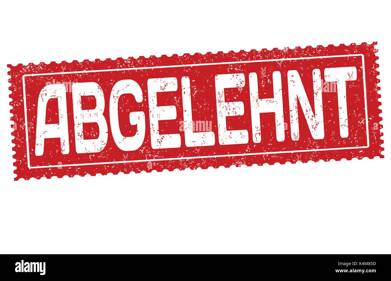 Abgelehnt (Rejected in german language) grunge rubber stamp on white background, vector illustration - Stock Image