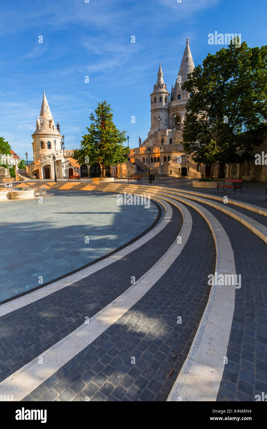 Morning view of Fisherman's Bastion in historic city centre of Buda, Hungary. - Stock Image