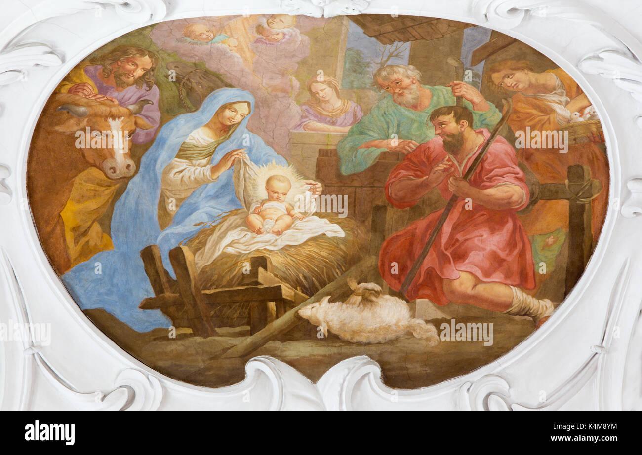 VIENNA, AUSTRIA - JULY 30, 2014: The fresco of Nativity in church Pfarkirche Maria Hietzing by Antoni Galliardi from 18. cent. - Stock Image