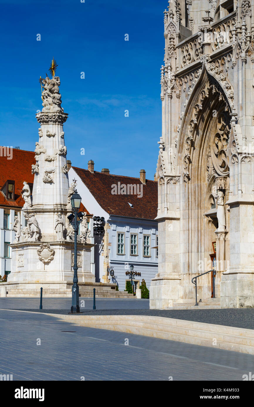 Morning view of Trinity column and Matthias church in historic city centre of Buda, Hungary. Stock Photo