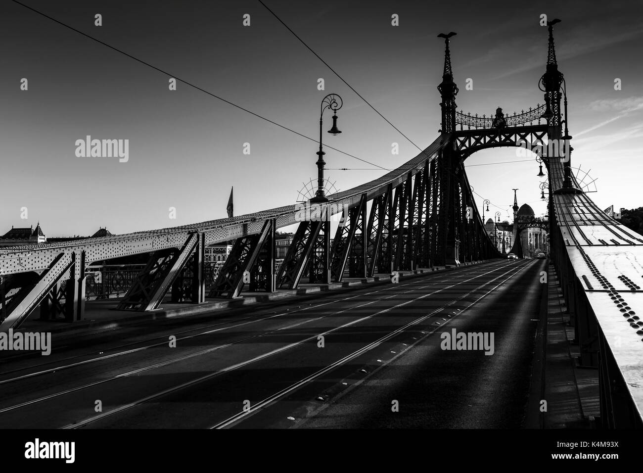 Liberty Bridge over river Danube in city centre of Budapest, Hungary. - Stock Image