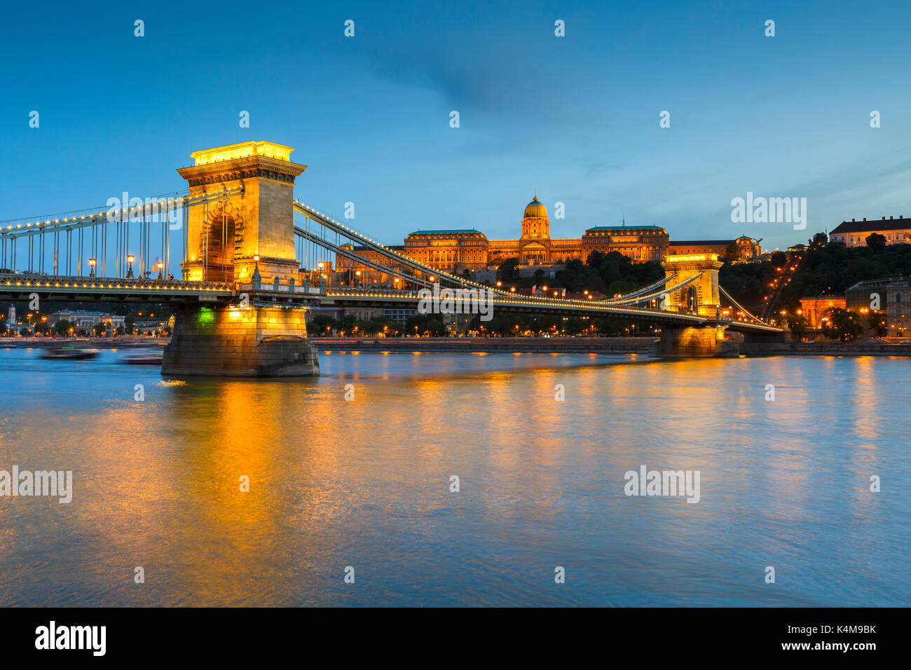Evening view of Buda castle of Budapest, Hungary. - Stock Image