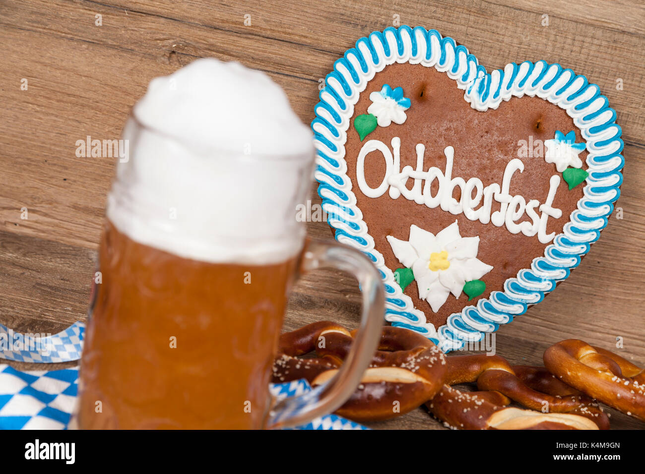 Oktoberfest written on gingerbread heart Stock