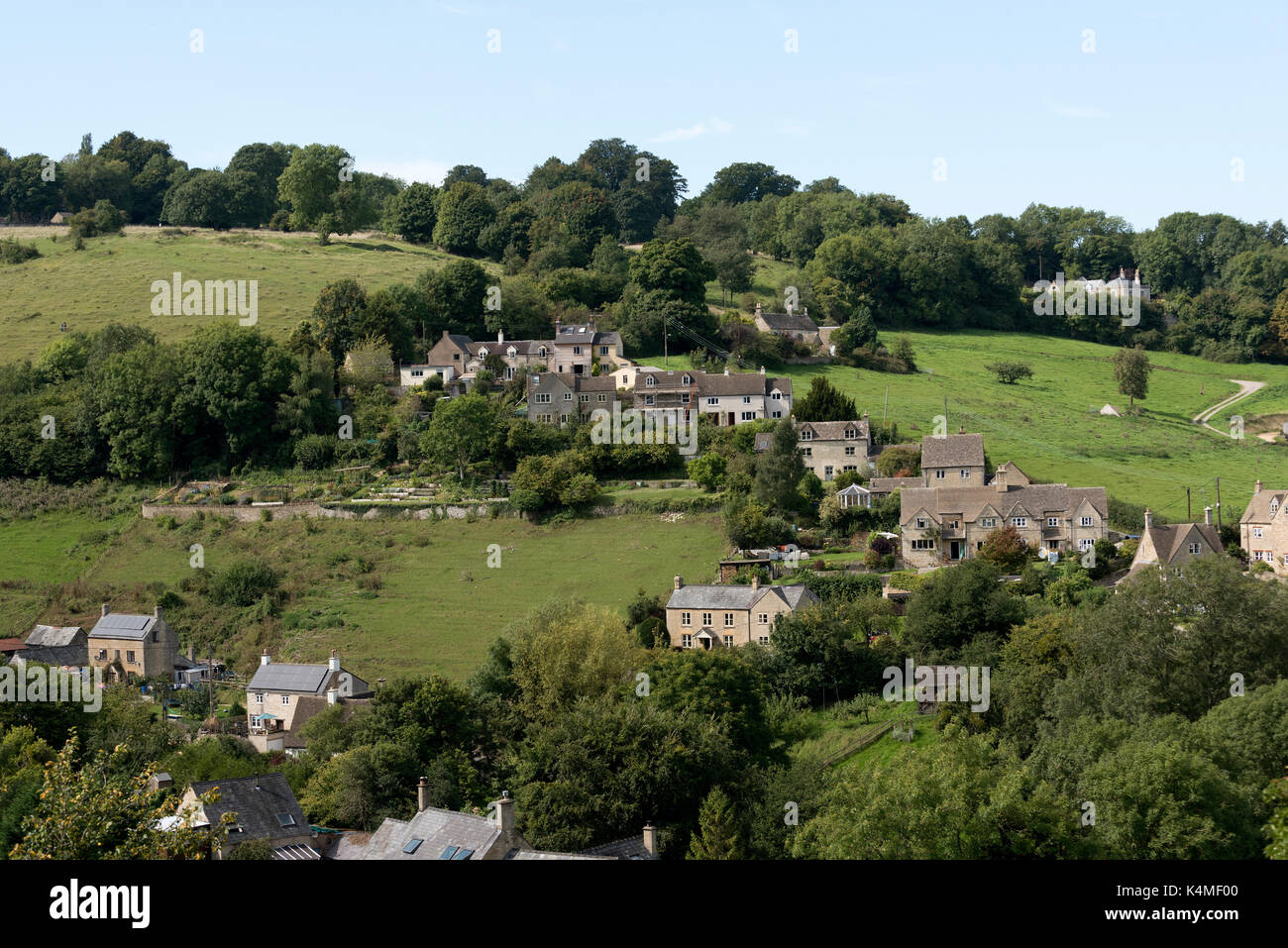 Overview of the Cotswold village of Burleigh near Stroud Gloucestershire England UK - Stock Image