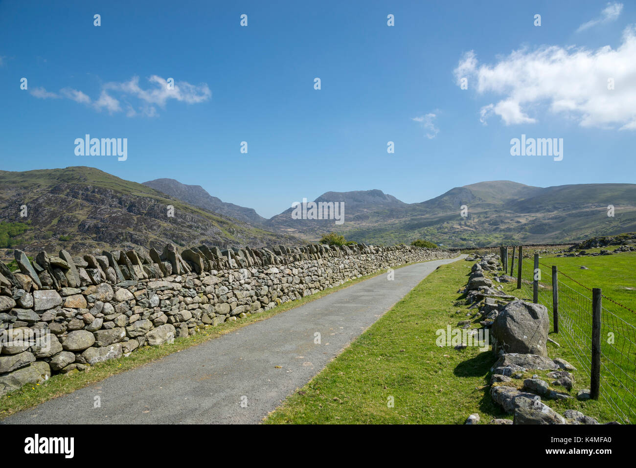A bright spring day in the remote landscape of Cwm Nantcol near Llanbedr in North Wales. Stock Photo