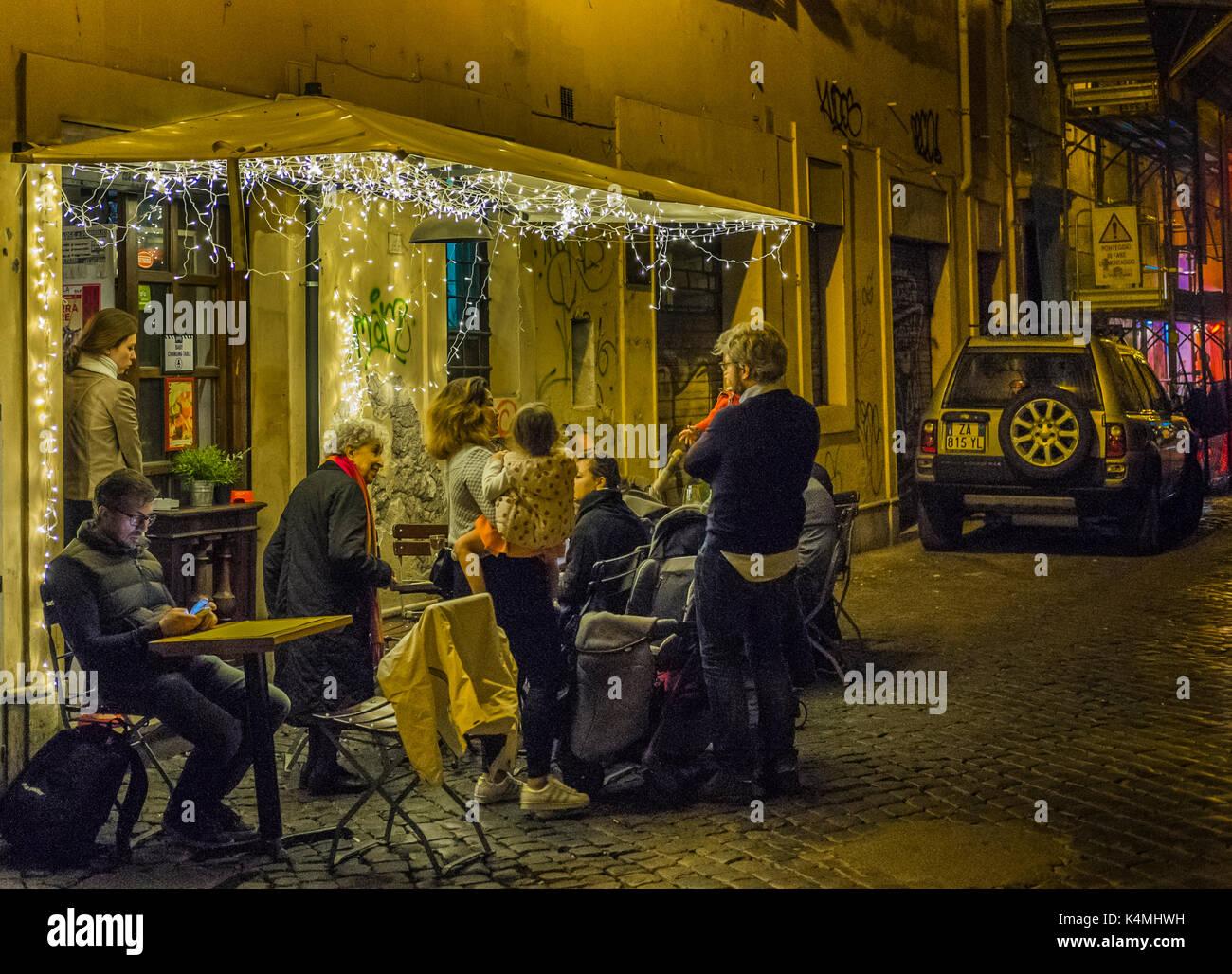 street scene in trastevere at night - Stock Image