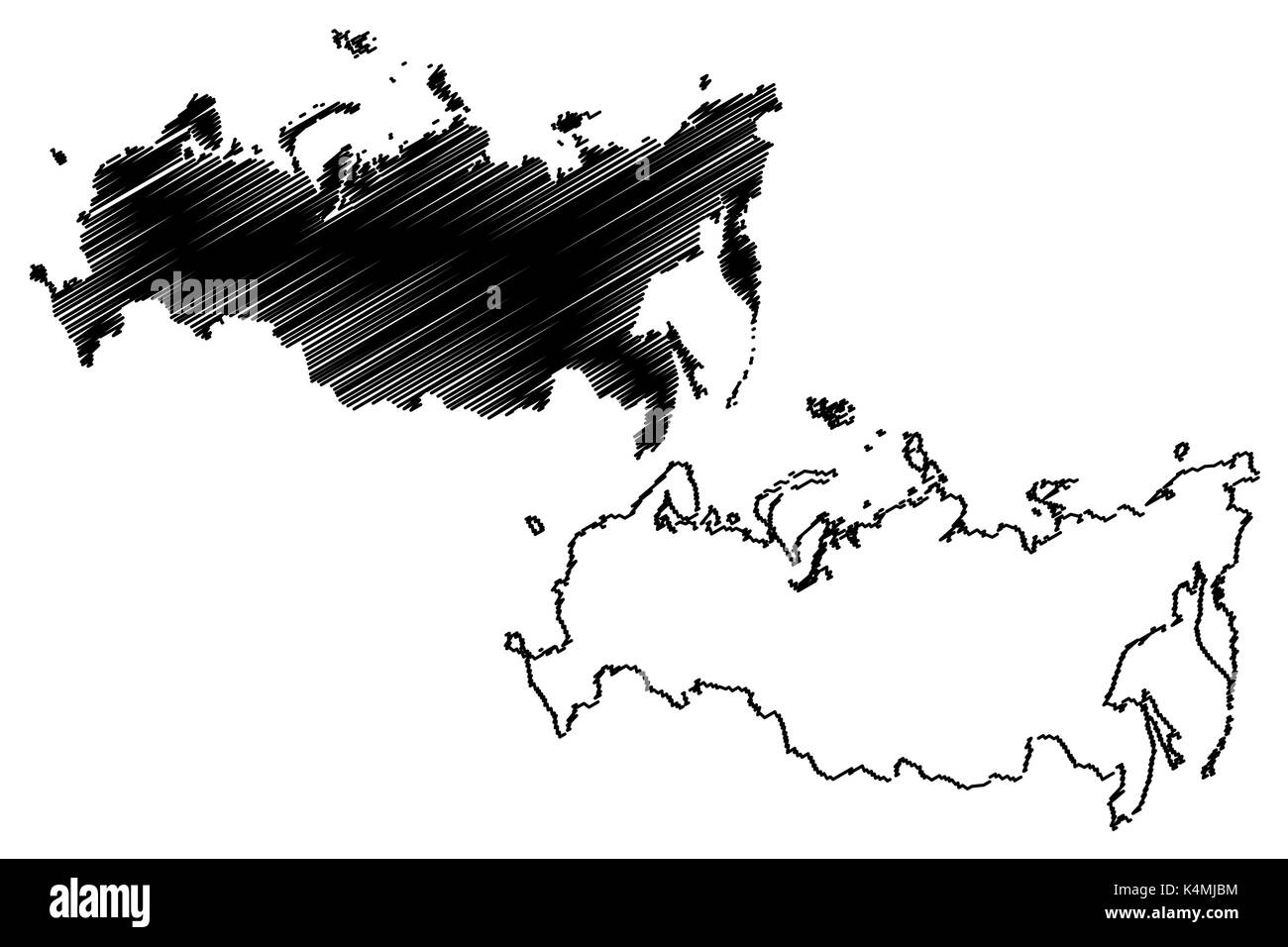 Russia map vector illustration, scribble sketch Russia - Stock Image