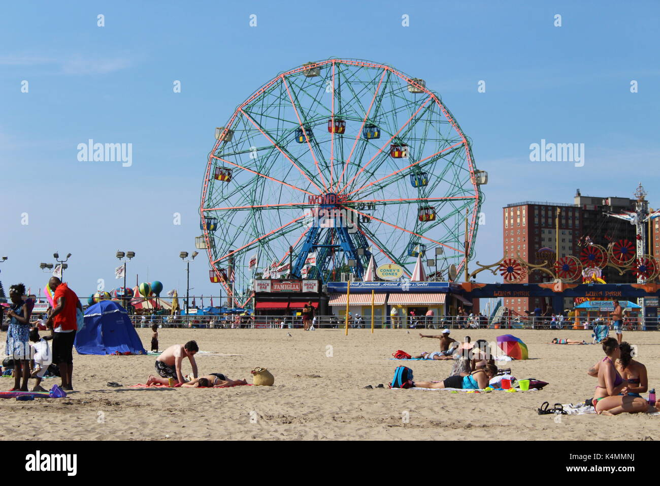 On the beach at Coney Island - Stock Image