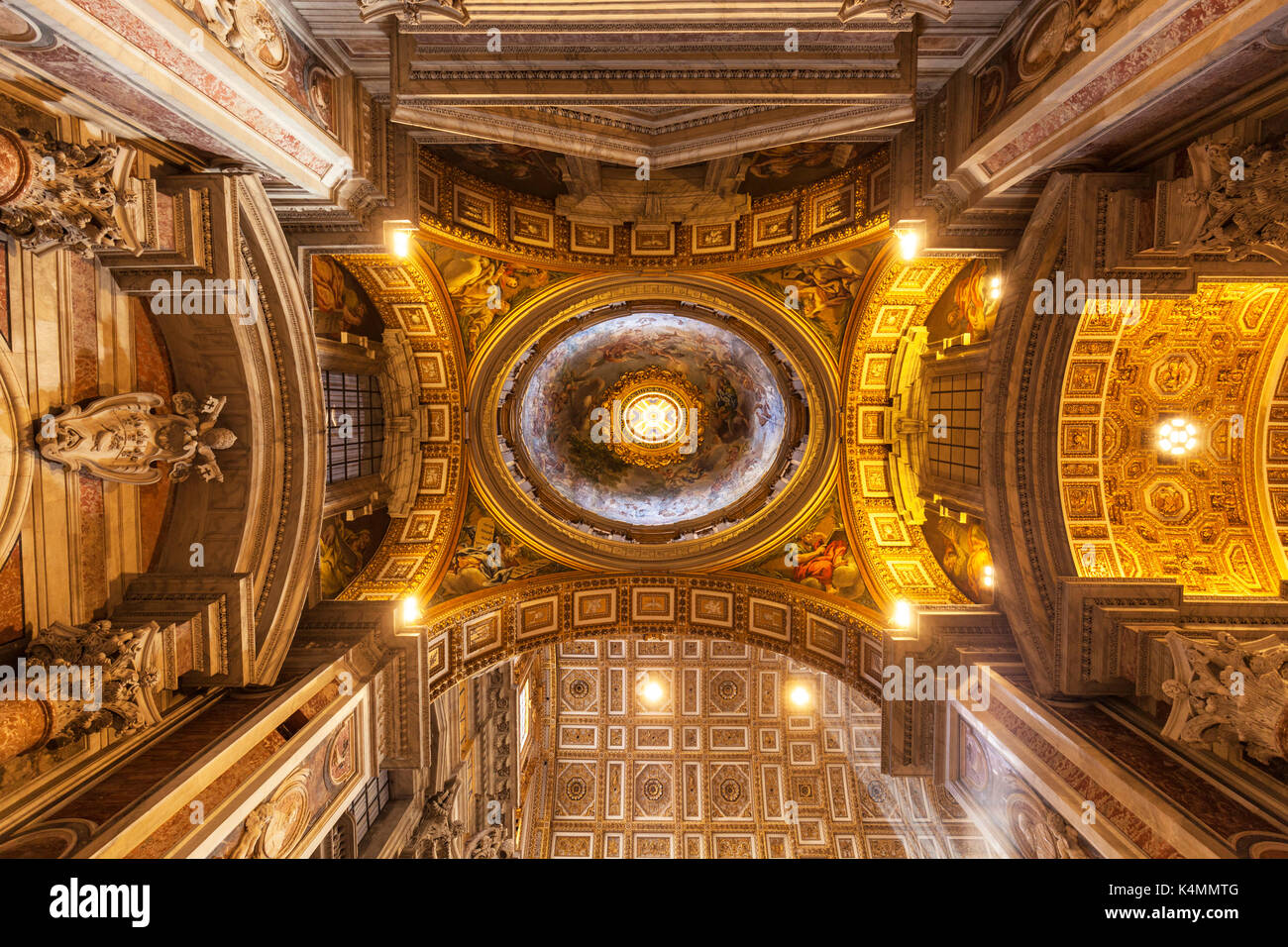 Interior of St. Peters Basilica roof dome Vatican City, UNESCO World Heritage Site, Rome, Lazio, Italy, Europe - Stock Image