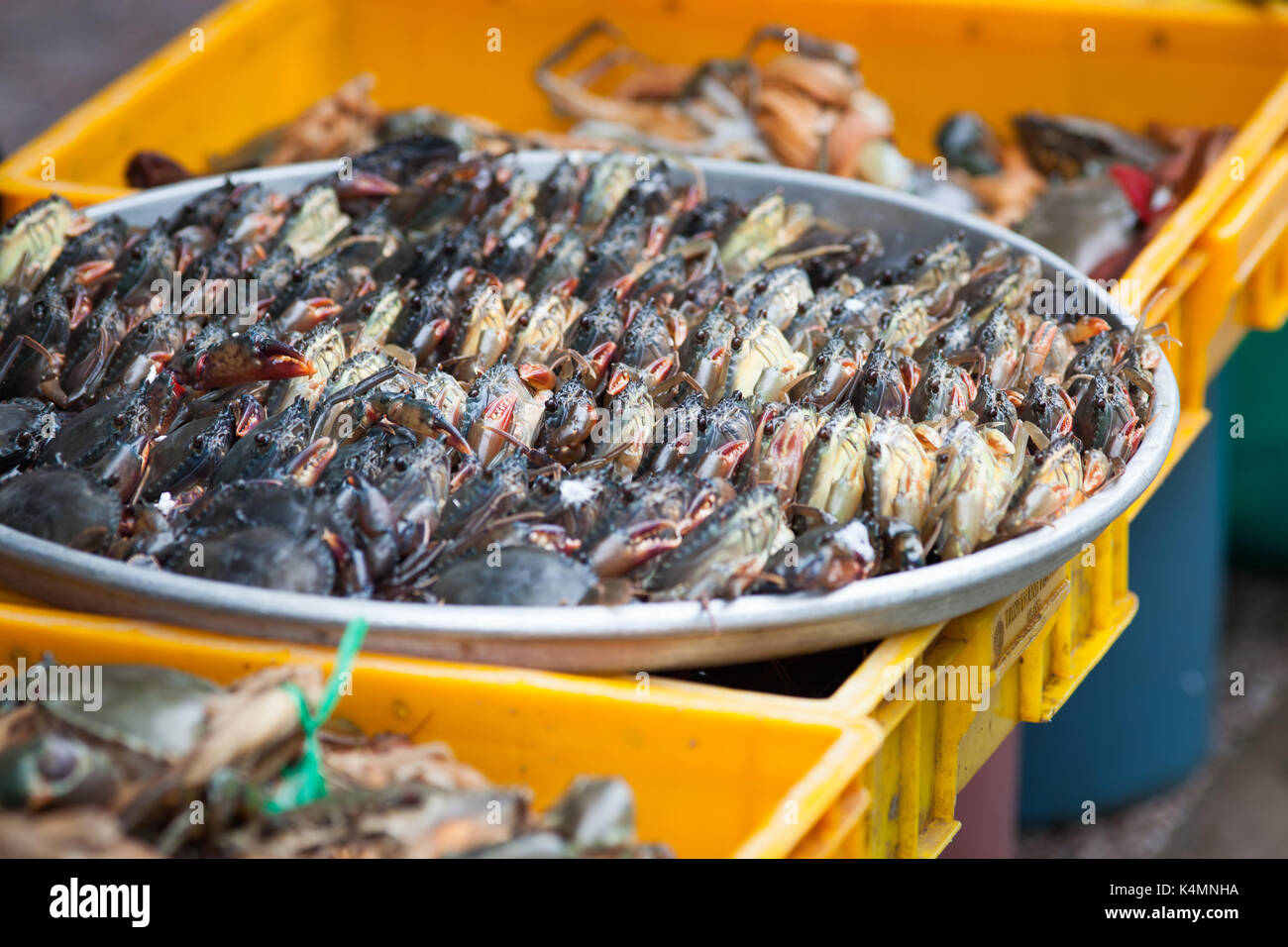 crabs on sale at the market - Stock Image