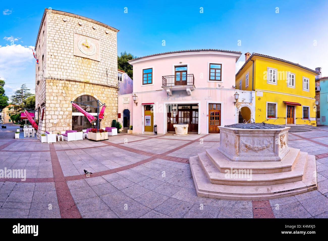 Town of Krk historic main square panoramic view, Kvarner region of Croatia Stock Photo