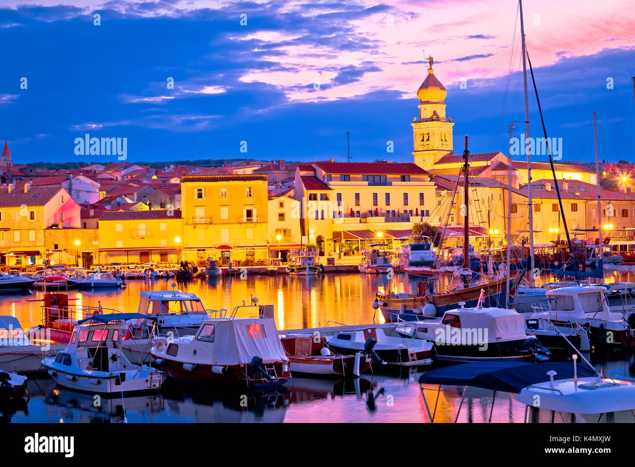 Historic island town of Krk dawn waterfront view, Kvarner bay archipelago of Croatia - Stock Image