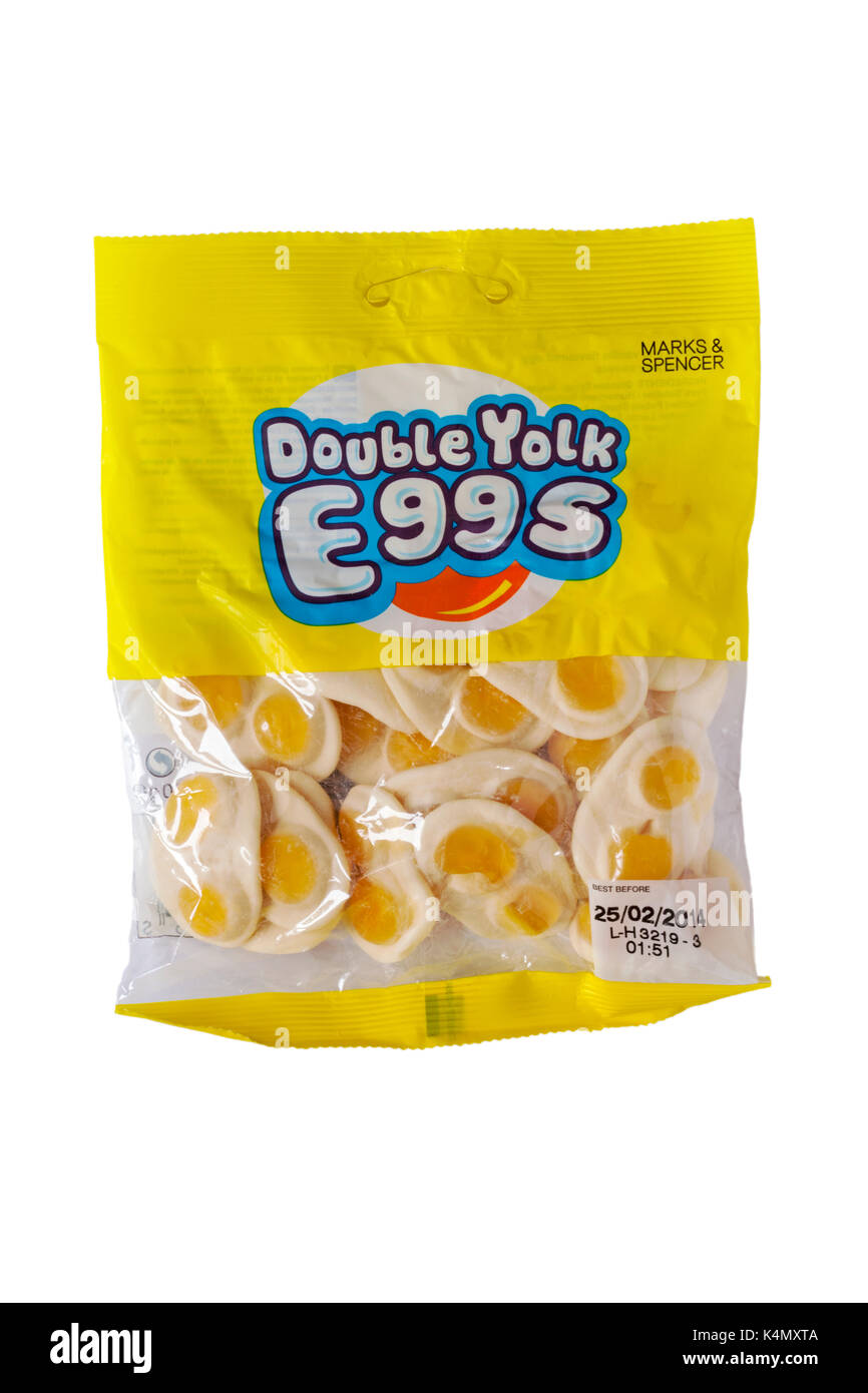 Packet of  Marks & Spencer Double Yolk Eggs sweets isolated on white background - Stock Image