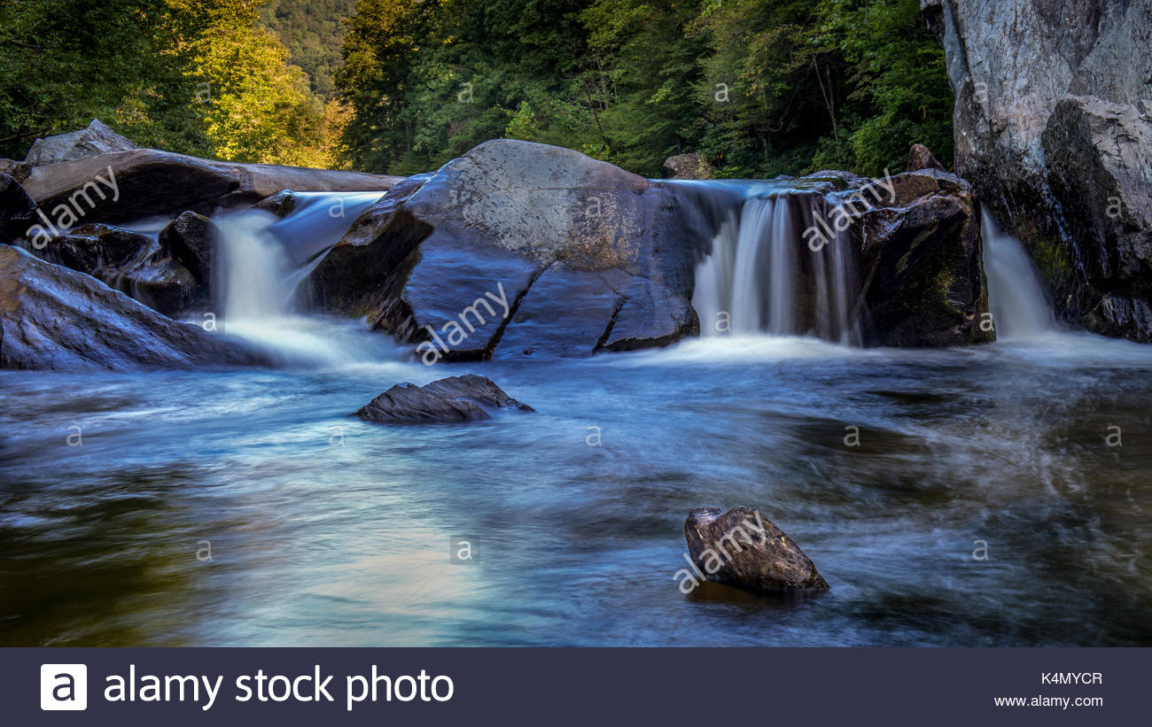 Wilson Creek Cascade - Brown Mountain Beach - Brown Mountain NC. Waterfall rolling over boulders on beautiful Wilson Creek North Carolina - Stock Image