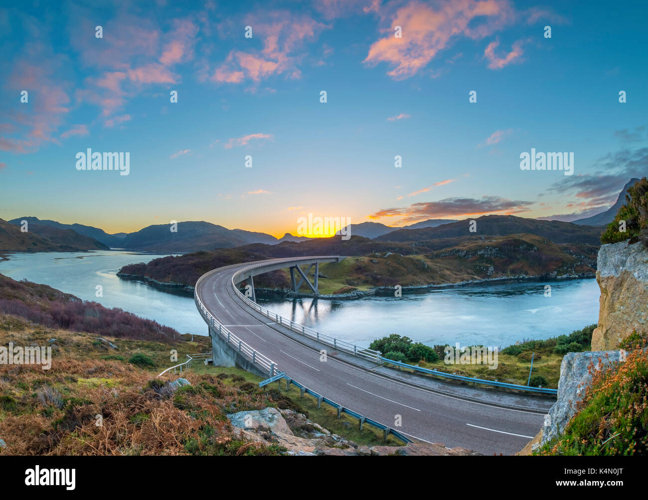 Loch a' Chairn Bhain, Kylesku, Kylesku Bridge, landmark on the North Coast 500 Tourist Route, Sutherland, Highlands, Scotland, United Kingdom, Europe - Stock Image