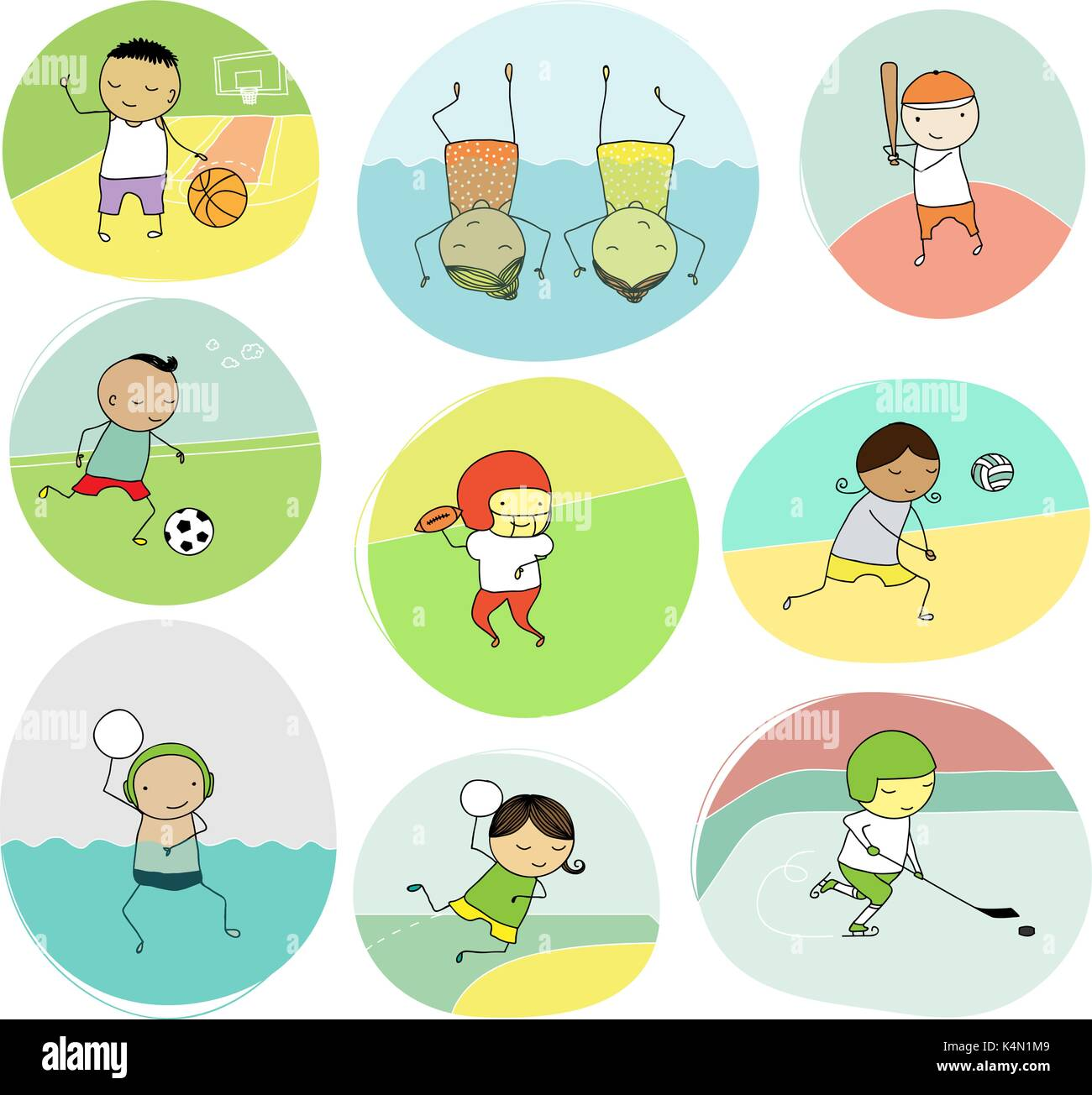 set of naive illustration of children playing different team sports - Stock Vector