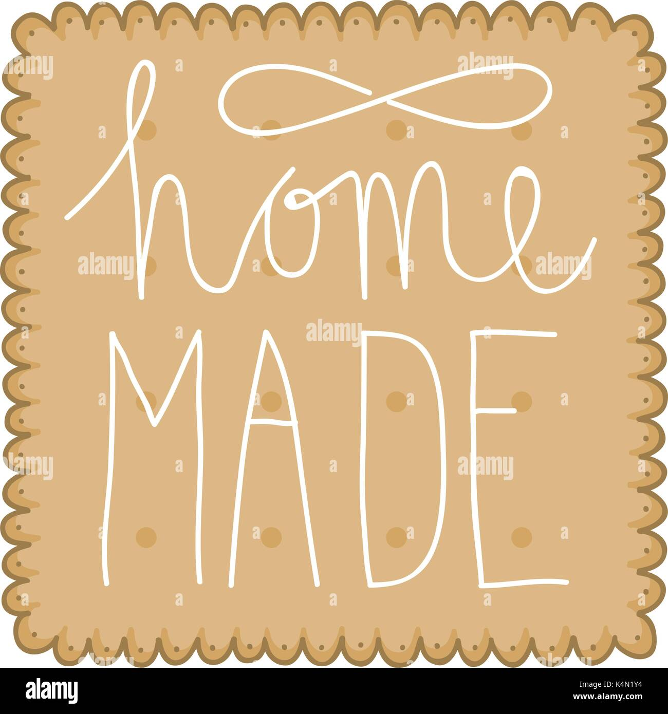Illustration of a biscuit or cracker with hand lettering text saying home made. - Stock Vector