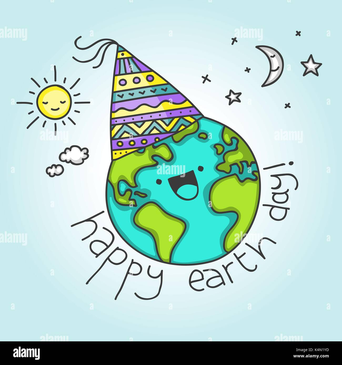 Cute card for April 22 with cartoon Earth saying Happy Earth Day - Stock Image