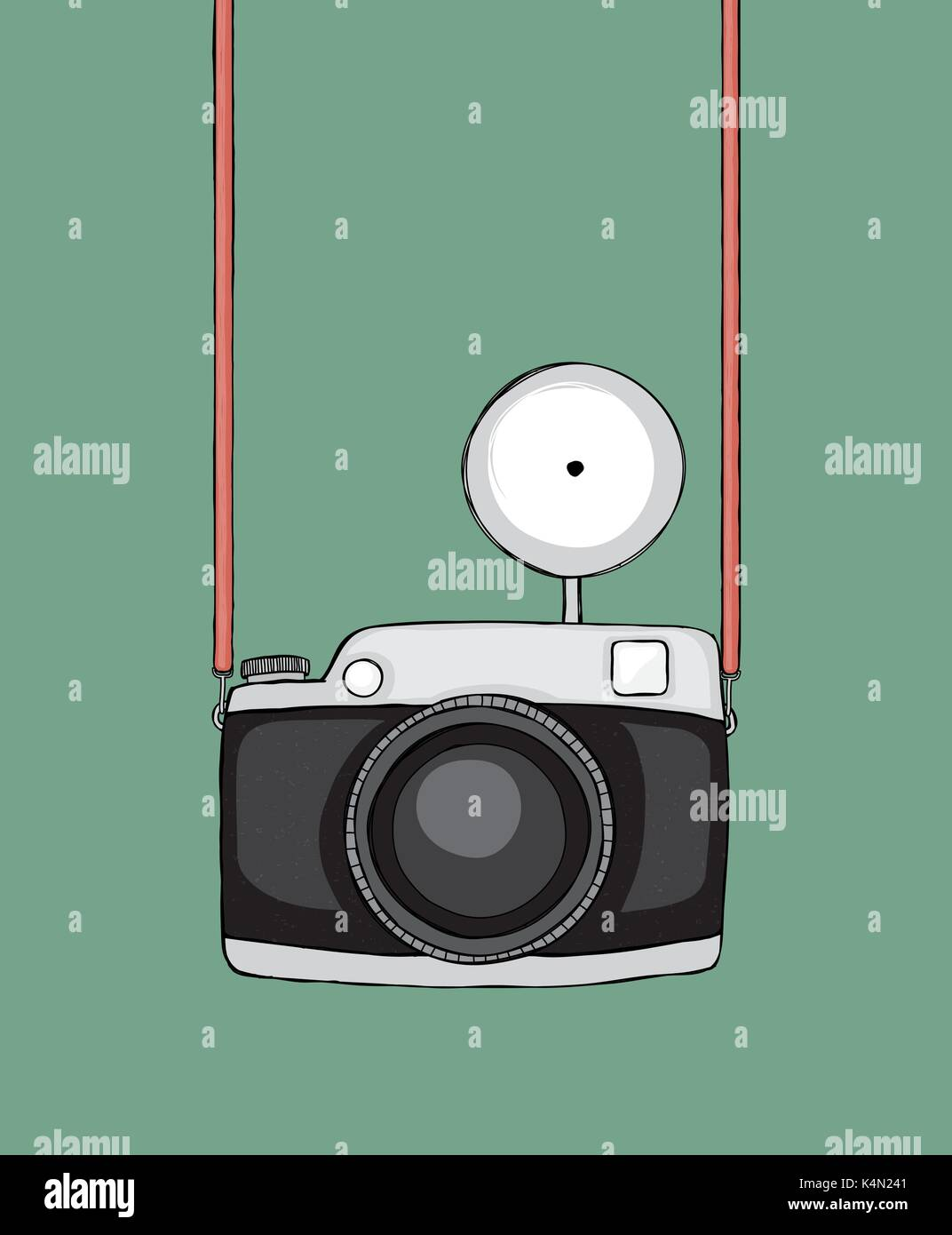 Hand Drawn Sketchy Retro Camera Strap And Flash Can Be Easily Stock Vector Art Illustration Image 157814609