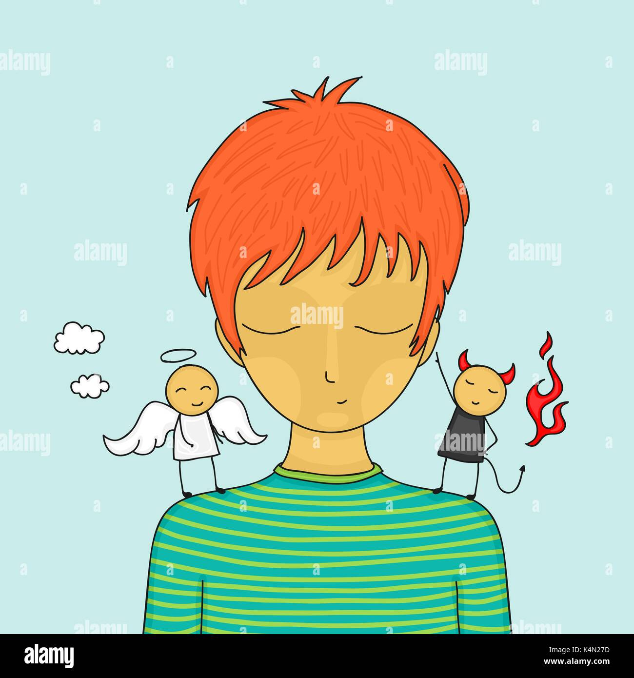 cartoon boy in doubt with small angel and devil on his shoulders rh alamy com Disney Angel and Devil On Shoulder Angel vs Devil On Shoulder