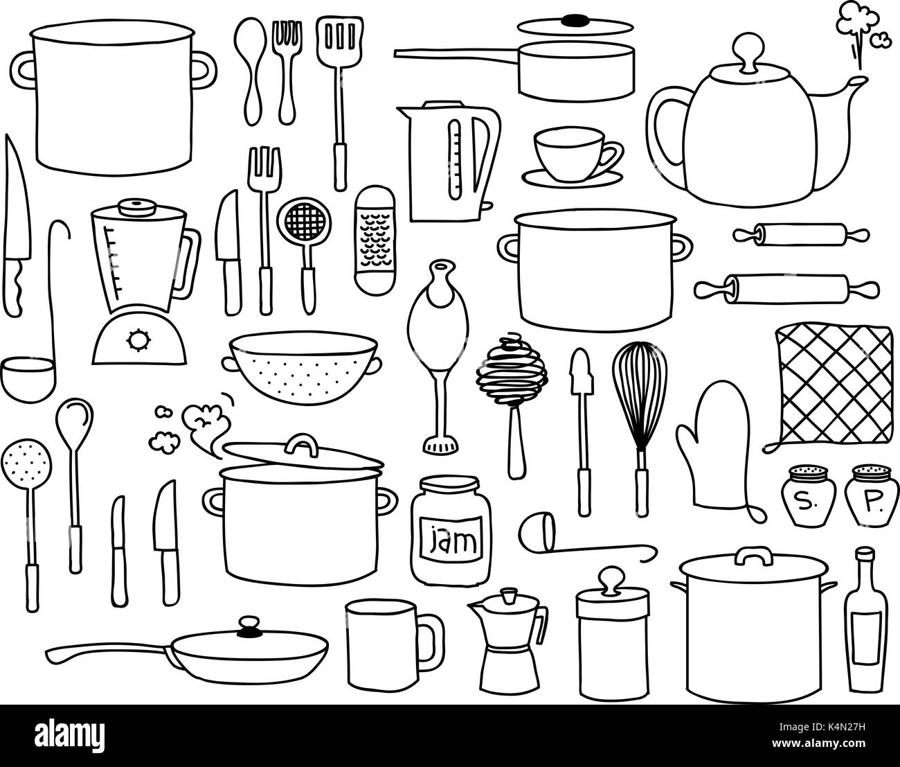 kitchen utensils pots and other kitchen elements doodle collection K4N27H