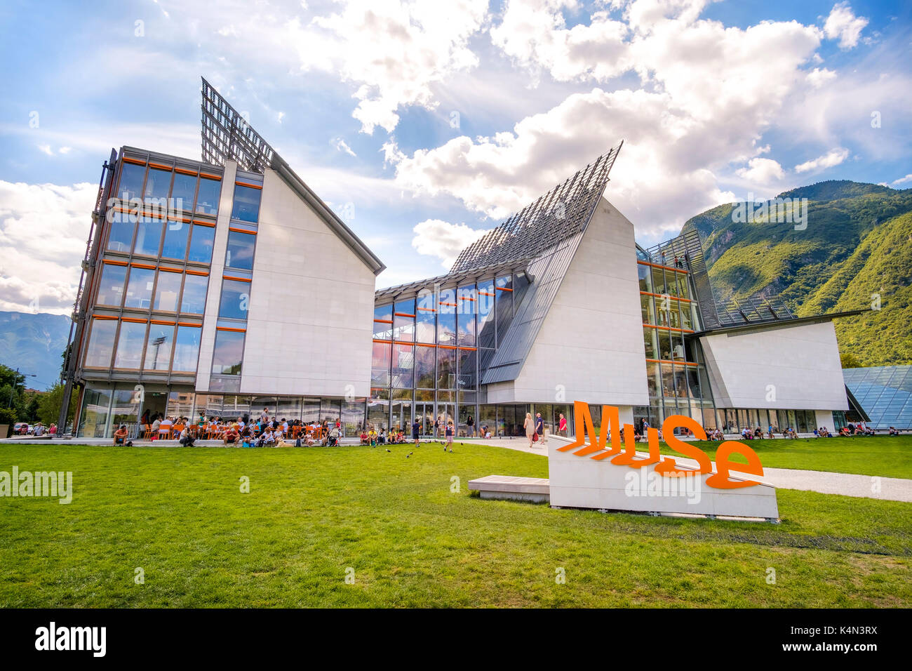 Trento, 14 Aug 2017 - The MuSe museum in Trento - Museum of Natural History designed by Renzo Piano - Stock Image