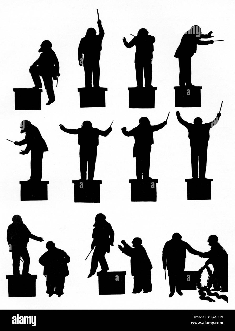Richter, Hans - silhouette Conducting a Bruckner symphony. By Otto Böhler.  German Conductor, 1843-1916. - Stock Image