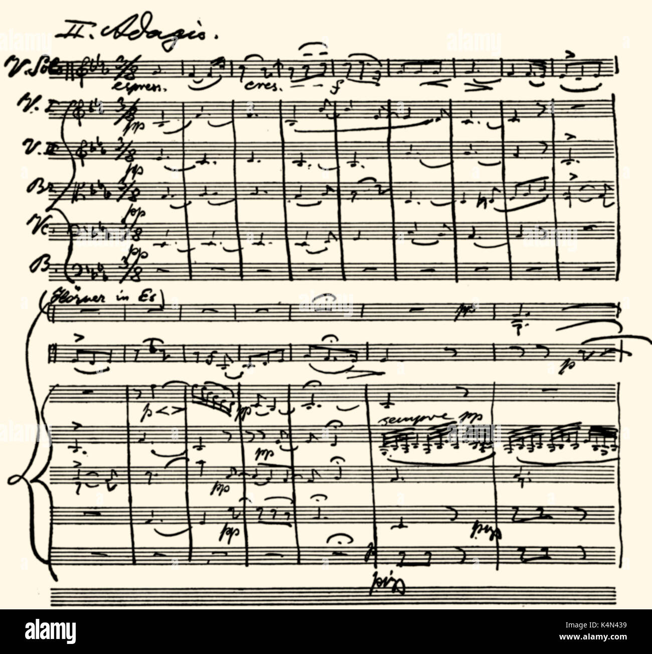 Max Bruch's Violin Concerto in G-Minor 2nd movement, score in the