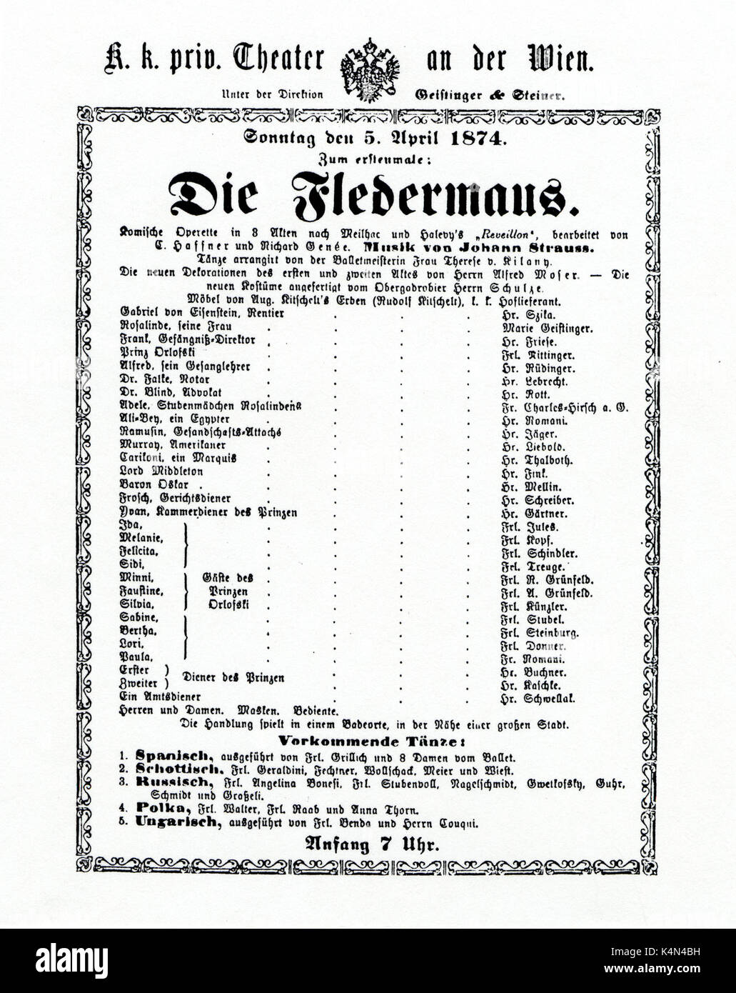 STRAUSS,Johann II. Die Fledermaus- Programme from Theater an der Wien Sunday 5th April 1874 premiere with Geistinger etc. - Stock Image